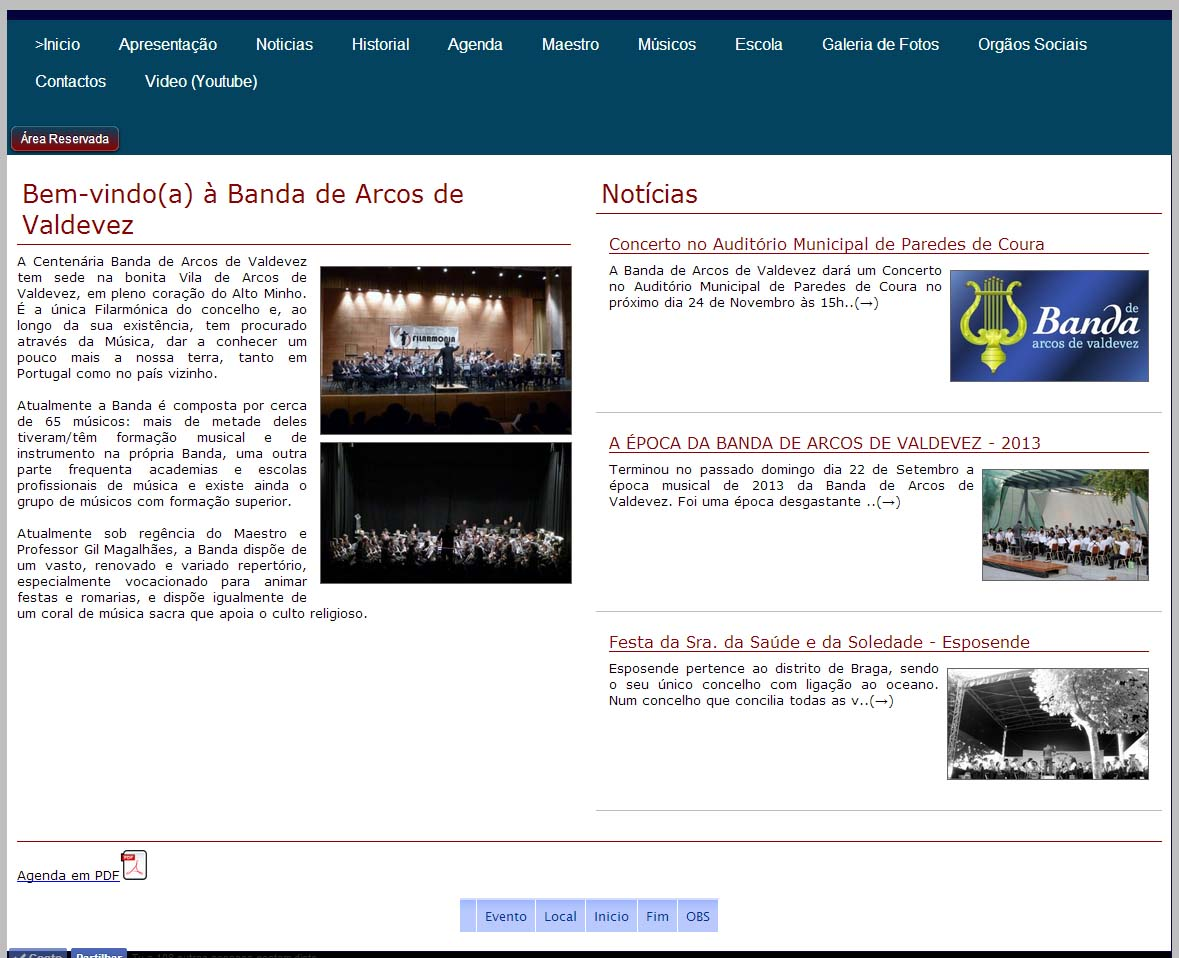 site minimalista (menu Top)